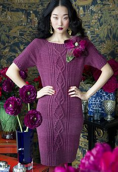 Ravelry: #11 Cable Panel Dress pattern by Faina Goberstein top down raglan sleeve. Vouge