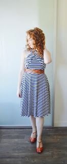 Spring OOTD Navy Stripes with orange shoes