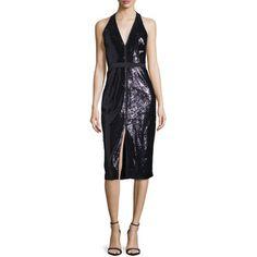 Halston Heritage Sequined Halter Dress