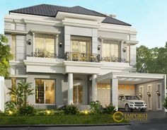 Hasan Private House Design - Surabaya- Quality house design of architectural services, experienced professional Bali Villa Tropical designs from Emporio Architect. Classic House Exterior, Classic House Design, Dream House Exterior, Dream Home Design, Modern House Design, Style Villa, House Arch Design, Latest House Designs, American Houses
