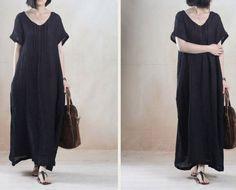 cotton linen loose fitting dress - Buykud