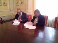 Firma del Convenio de Colaboración entre Select-Ing y AIPE.  Presidente de AIPE D. Jesús Rodriguez Cortezo y Director General D.Esteban Rubio - Caja.