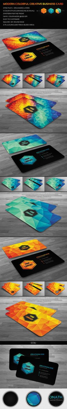 Buy Creative Modern Polygon Business Card by badbugs on GraphicRiver. Creative and clean Modern Polygon Business Card used for all purpose. very easy editable text layers or colors/graphi. Web Design, Name Card Design, Creative Design, Logo Design, Brochure Design, Cv Inspiration, Graphic Design Inspiration, Identity Design, Visual Identity