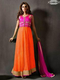 Orange & Pink Chiffon & Crepe Silk Embroidered Semi Stitched Anarkali Salwar Suit