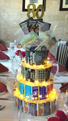 Lottery cake. Casino themed party. Scratch off lottery tickets shaped as a cake using circle styrofoam pieces.
