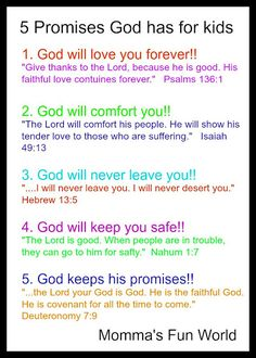 God's promises for future Bible study Bible Study For Kids, Bible Lessons For Kids, Bible Verses For Kids, Children's Bible, Children Church Lessons, Bible Stories For Kids, Children Ministry, Bible Activities, Church Activities
