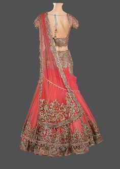 Peach and coral lehenga choli – Panache Haute Couture Indian Bridal Lehenga, Indian Bridal Wear, Indian Wedding Outfits, Bridal Outfits, Indian Sarees, Indian Outfits, Wedding Lehnga, Indian Wear, Lehenga Choli Online