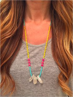 Neon & Pastel Beaded Crystal Necklace - Stone Necklace - elladolce