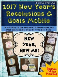 """***2017 Edition IS AVAILABLE!*** New This Year: Optional Pieces that can replace the """"0"""" and the """"7"""". This fun and simple mobile project will provide your students with an opportunity to reflect on the past year and a chance to set goals."""