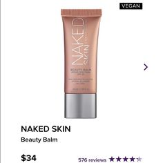 Naked Skin Beauty Balm Naked Skin Beauty Balm 100% authentic only used about three or four times. Still have box. This is the large full size. Comes with box. Gives you a natural look without foundation. Urban Decay Makeup Foundation
