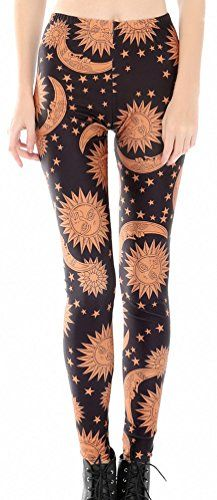 Sun and Moon Celestial Women's Print Full-Length Stretchy Leggings Printed Leggings, Women's Leggings, Leggings Are Not Pants, Funky Tights, Women's Fashion Leggings, Big Girl Fashion, Celestial, Vintage Style Outfits, Workout Leggings