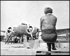 Earhart waits for the maintenance of her Electra aircraft.    Read more in Amelia Earhart's Radio - Amelia Earhart Book  #ameliaearhart #plane #mystery #history #earhart #vintage #photography