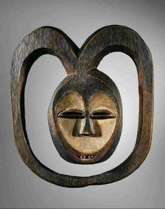 Wooden, pigmented mask from the Kwele People of Gabon, prior to 1930.