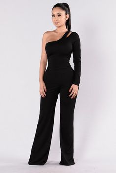 - Available in Black - One Sided Jumpsuit - Long Sleeve - Shoulder Cut Out - Wide Leg Bottom - 95% Polyester 5% Spandex