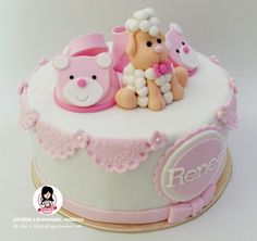 Baby Shoe & Sheep design fondant cake - side view