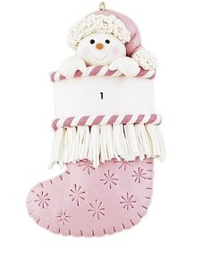 Baby Girl's 1st Christmas PINK Stocking Ornament Snowflakes