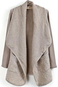 Apricot Lapel Long Sleeve Pockets Cardigan - Sheinside.com