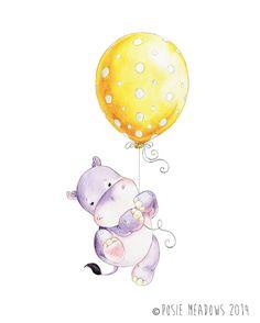 Hipopótamo Hippo Hippo acuarela bebé hipopótamo guardería