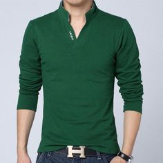 V-Neck Stand Collar Cotton Knit - 5 Colors - M- 5XL