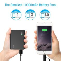 Amazon.com: [Apple Certified] UNU Superpak 10000mAh 3.1A Portable Charger External Battery Pack with 2-in-1 Lightning Cable 8Pin and MicroUSB Cable for iPhone 6/6S, 6/6S Plus, 5S 5, Galaxy S6 S5 - Matte Black: Cell Phones & Accessories