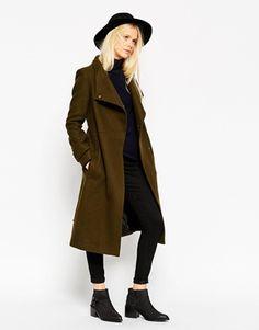 ASOS – Mantel mit Stehkragen und Gürtel aus Wolle