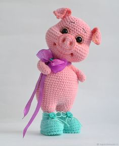 Crochet pillow animal fresh mc pig peggy pig in boots hook – shop online on livemaster with www mrsbroos com Crochet Hippo, Knit Or Crochet, Cute Crochet, Crochet Animals, Crochet Dolls, Crochet Crafts, Yarn Crafts, Crochet Projects, Crochet Baby