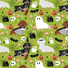 dachshund halloween fabric dog dogs fabric doxie halloween spooky ghost fabric - lime green by petfriendly Dachshund Art, Dachshund Puppies, Weenie Dogs, Daschund, Doggies, Halloween Fabric, Halloween 4, Dog Lady, I Love Dogs