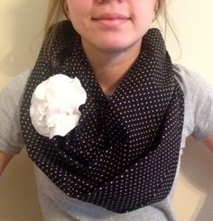 Black and White Infinity Scarf with Scarf Pin (white, University of Kentucky, or University of Louisville)