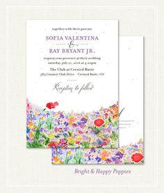 wildflowers wedding invitations - Bright & Happy for your Colorado wedding