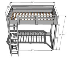 How to Build a Loft Bed - desk underneath and a built in bookcase. DIY tutorial has pictures/diagrams. Build A Loft Bed, Loft Bed Plans, Murphy Bed Plans, Loft Plan, Bunk Bed With Desk, Bunk Beds With Stairs, Kids Bunk Beds, Bed Rails, Small Rooms