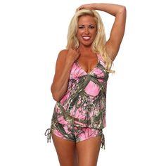 Women's 2-Piece Camo Bikini True Timber Tankini Top & String Shorts Beach Swimwear Swimsuit