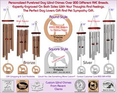 Purebred Dog Wind Chimes - 200+ Breeds, The Perfect Dog Lovers Gift!  http://www.chimesofyourlife.com/dog-wind-chimes/dog-purebred-wind-chimes/