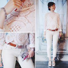Newdress Stand Collar Long Sleeve Hollow Out Crochet Lace Irregular Solid Blouse, Choies White V Neck Crochet Lace Scallop Hem Cami Crop Top, New Dress Clear Clutch Bag