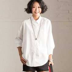 Spring Long Sleeve White Shirt