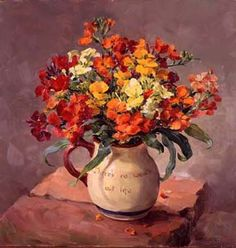 Vibrant Wallflowers giclee print on canvas by Anne Cotterill