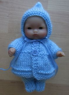 """Knitting Pattern for 5"""" Berenguer Dolls Clothes"""