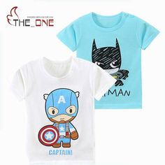 2017 1-6T Summer Kids T-shirts Boys Girls Cartoon Batman Short Sleeve Cotton Tops Tees Casual Clothing for Baby Children T236