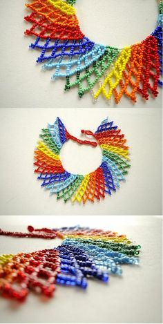 Wear a radial array of rainbow with this stunning necklace! Seed Bead Jewelry, Pendant Jewelry, Beaded Jewelry, Handmade Jewelry, Beading Projects, Beading Tutorials, Beading Patterns, Beaded Earrings, Crochet Earrings