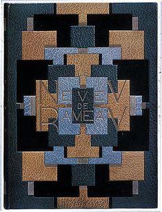 Pierre Legrain, upper cover of binding decorated with a geometric design, on Denis Diderot, Le neveu de Rameau, illustrated by Bernard Naudin (Paris: Auguste Blaizot, 1924).