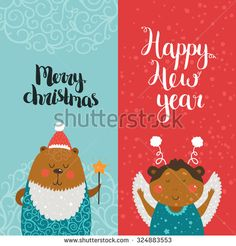 Merry Christmas and Happy New year cards with cute animals, bear, monkey and Typographic Wish. Set of printable Greeting cards