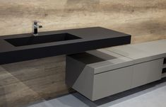 FENIX NTM Nero Ingo for the washbasin, Grigio Londra for the bench. Elegance at a glance Fenix Ntm, Concrete Basin, Smart Materials, Toilet, Sweet Home, Sink, Bench, House Design, The Originals