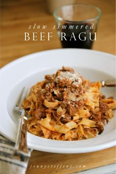 Slow Simmered Beef Ragu | Tomatoes, Wine, Thyme, Rosemary, Cream & Parmesan