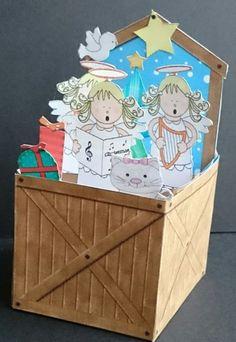 3D Angel Choir Nativity Rubber Band Xmas Pop Up Box Card