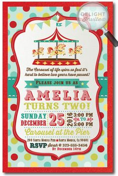 Free circus birthday invitation circus party invitations circus vintage circus carousel birthday invitations di 384 custom invitations and announcements for stopboris Images