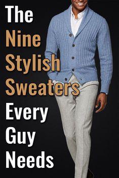 Mens Winter Sweaters, Men Sweater, Mens Suit Accessories, Men's Accessories, Types Of Jackets, Jacket Types, Light Grey Suits, Elegant Man, Well Dressed Men
