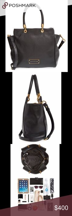 """NWT Authentic Marc By Marc Jacobs Bentley tote NWT 100% authentic Marc By Marc Jacobs Too Hot To Handle Bentley winged tote cross body bag. Black leather with gold hardware. Interior capacity large. This bag is very spacious and can fit tons of things in it. It measures approximately 12""""W x 12""""H x 6""""D. It has a 7.5"""" strap drop;18-22"""" adjustable cross body strap. Receipt available. Comes with dustbag. Bag retails for $500 plus after taxes. Price is negotiable, please use the offer button I…"""