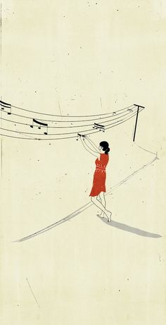 Italian illustrator, Alessandro Gottardo, has a new fan in me. I'm in love with his quiet depictions of music in such sweet and simple ways. {Images via My Modern Met} Art And Illustration, Art Illustrations, Minimalist Music, Music Notes, Music Music, Music Life, Illustrators, Street Art, Thoughts