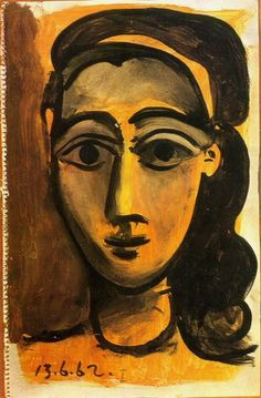 Pablo Picasso - Head of a Woman, 1962 Pablo Picasso, Art Picasso, Picasso Portraits, Picasso Drawing, Picasso Paintings, Picasso Style, Spanish Painters, Spanish Artists, Abstract Portrait