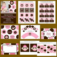A chic and adorable sock monkey girl birthday party decoration and invitation package. Sock monkey party themes are very popular, and this would be the perfect package for that special little girl birthday party.