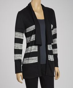 Slipping+this+soft+layer+over+a+favorite+long-sleeve+tee+will+warm+up+any+look.+The+open+cardigan+features+stylish+stripes+and+a+matching,+attached+scarf+to+complete+an+ultra-comfy+ensemble.